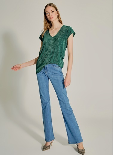 NGSTYLE Kendinden Piliseli Bluz Yeşil